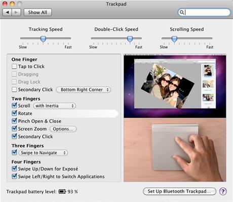 Magic Trackpad - při nastavování jednotlivých gest zároveň na videu vpravo vidíte, jak dané gesto (v tomto případě rotování pomocí dvou prstů) používat a jak se při jeho použití chovají ovládané programy