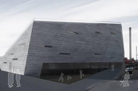 Na fasádě je použitý pohledový beton