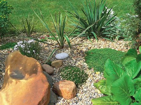 Skalky jsou minulostí. Růstu plevelu částečně zamezí fólie, na ní kůra nebo kamínky