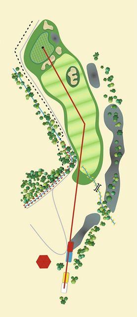 Golfové hřiště Old Course v Čeladné, jamka č. 13 - nákres.