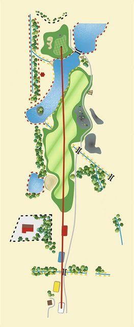 Golfové hřiště New Course v Čeladné, jamka č. 18 - nákres.