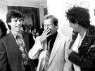 Členové Rolling Stones se setkali s prezidentem Václavem Havlem. Ten je do Prahy pozval (18. srpna 1990).