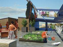 Vizualizace - Manila, střecha pro sušení prádla i pěstování zeleniny