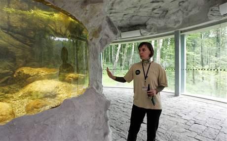 Mluvčí zoo Šárka Kalousková před jedním ze dvou velkých akvárií ve vyhlídce nové expozice ostravské zoo.