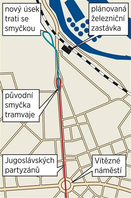 Plánovaný úsek tramvajové trati v Podbabě v Praze 6.