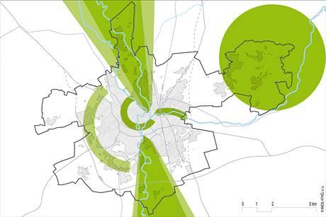 Schéma rekreačních zón v Olomouci. Tmavě zelené jsou existující zóny, světle zelené plochy ukazují plánované rozšíření.