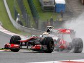 Lewis hamilton z McLarenu  během tréninku na VC Belgie.