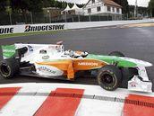 Adrian Sutil  z Force India během tréninku na VC Belgie.