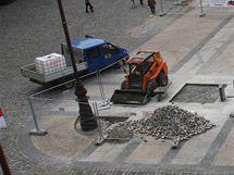 Benešovo náměstí v Liberci při generální opravě.
