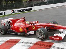 Felipe Massa s ferrari při Velké ceně Belgie.