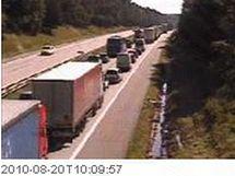 Kolona kvůli nehodě na 166. kilometru D1 ve směru na Brno
