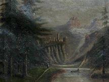 Padělek obrazu Alpská krajina. Originál namaloval německý umělec Caspar David Friedrich.