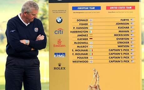 Kapitán evropského týmu Colin Montgomerie u tabule se jmény nominovaných hráčů pro Ryder Cup 2010.