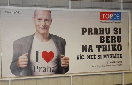 Billboard TOP 09 před volbami v Praze na podzim 2010.