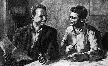 Ludovít Ilečko: Klement Gottwald a Julis Fučík, kresba z časopisu Československý voják, padesátá léta