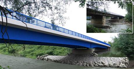Vizualizace nového mostu a srovnání s mostem, který už se začal bourat.