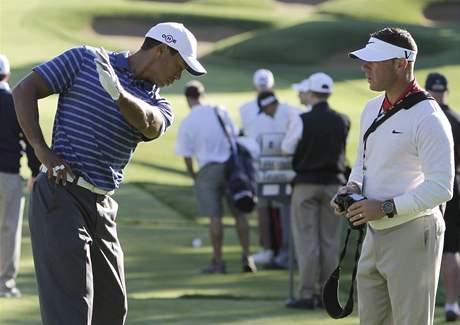 Tiger Woods s trenérem Seanem Foleym, trénink BMW Championship