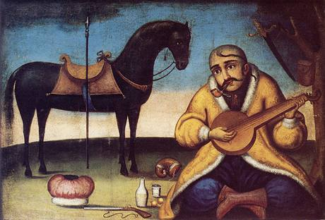 Ukrajinský lidový hrdina kozák Mamaj s nezbytnou kobzou a dýmkou