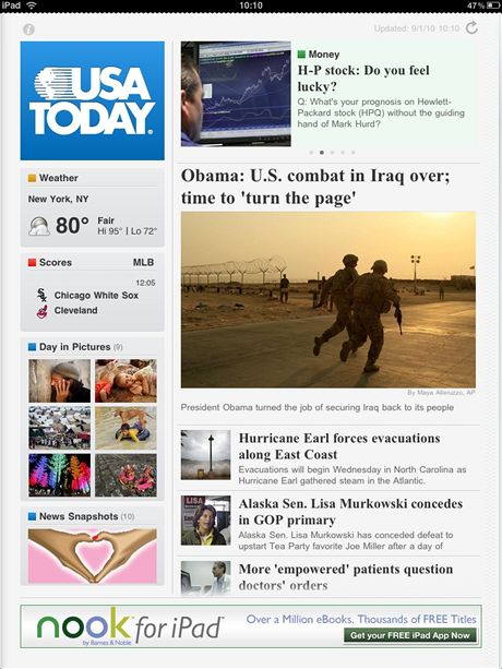 Aplikace pro iPad - USA Today