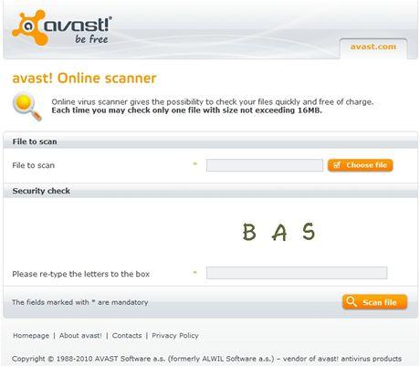 avast! Online Scanner