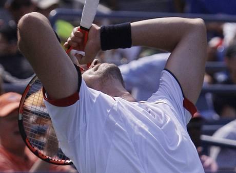 Robin Söderling slaví postup na US Open