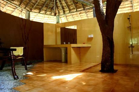 Pověste si ručník na kmen stromu a osvěžte se ve sprše. Teplé a zemité barevné tóny doplňuje kamínková mozaika připomínající moře