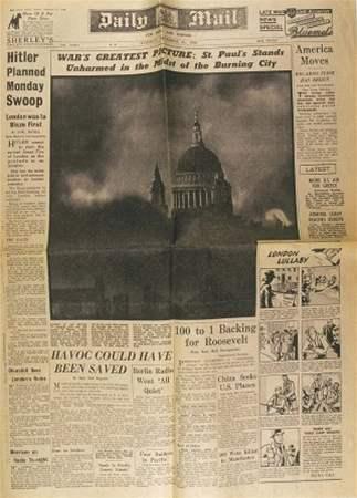 Obálka listu Daily Mail z 31. prosince 1940