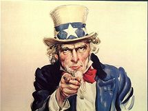 Strýček Sam verbuje Američany do války. Plakát Jamese M. Flagga z roku 1917