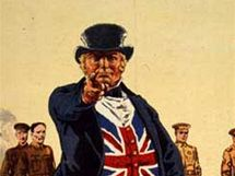 John Bull verbuje vojáky na plakátě z první světové války