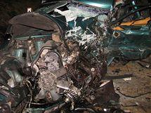 Havarované volvo na místě nehody