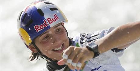 Slovenka Jana Dukátová na mistrovství světa vodních slalomářek v Tacenu.
