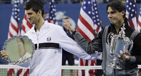 Novak Djokovič a Rafael Nadal po finále US Open 2010