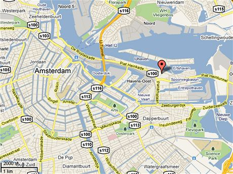 Mapa Amsterdam. Východní doky