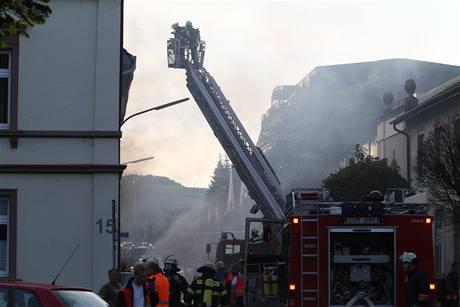 Zásah hasičů po explozi v Lörrachu