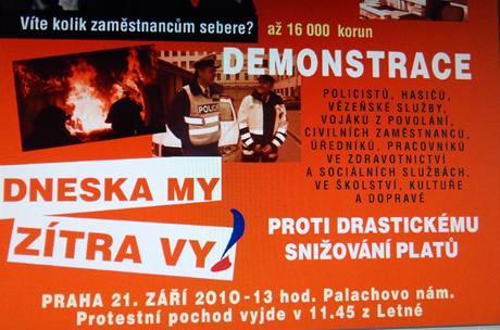 Část plakátu, jímž zvou odbory na demonstraci proti snižování platů 21. září 2010.