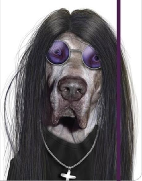 Německá doga stylizovaná do podoby Ozzy Osbourna