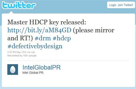 HDCP master key na Twitteru