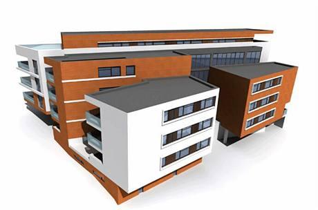 Ze zadní strany projektů Písková, je zřetelné členění objektu, které je architektonicky velmi nápadité