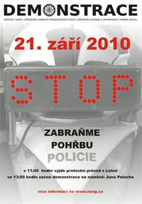 Plakát k demonstraci Nezávislého odborového svazu Policie České republiky