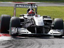 Michael Schumacher s mercedesem při Velké ceně Itálie.