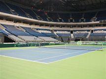 Pohled na kurt v bělehradské hale, kde se Česko utká se Srbskem v semifinále Davis Cupu.