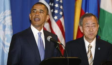 Prezident USA Barack Obama a generální tajemník OSN Pan Ki-mun. (24. září 2010)