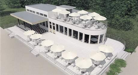 Studie obnovené Librovy restaurace na rokycanském koupališti