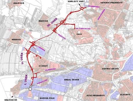 Mapa západního obchvatu Plzně