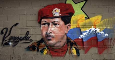 Grafitti s venezuelským prezidentem Hugo Chávezem v Caracasu. Nedělní parlamentní volby podle oficiálních informací vyhrála jeho strana (24. září 2010)