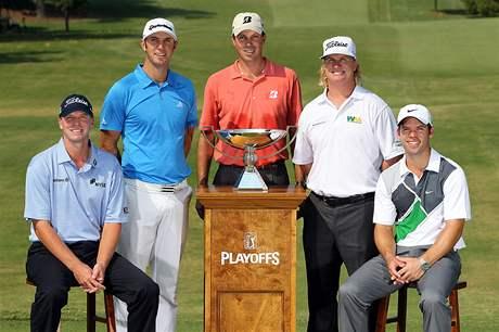Zleva: Steve Stricker, Dustin Johnson, Matt Kuchar, Charlie Hoffman a Paul Casey, FedEx Cup 2010