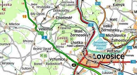 Mapa chybějící části dálnice D8