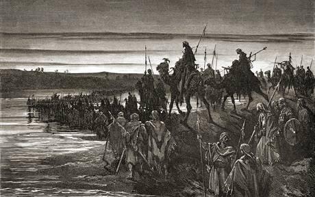 Mojžíš vede Izraelity přes moře na rytině Gustava Dorého z druhé poloviny 19. století.