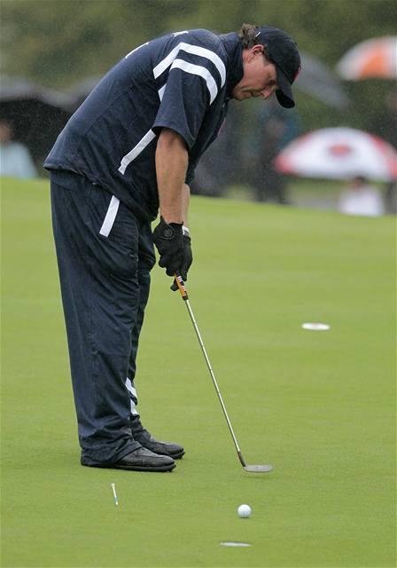 Trénink amerických golfistů na Ryder Cup - Phil Mickelson.
