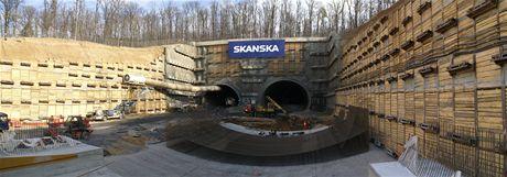 Cholupický tunel - Zajištění stavební jámy Komořany